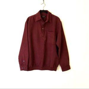 Damonte Wine Color Long Sleeve Polo Shirt